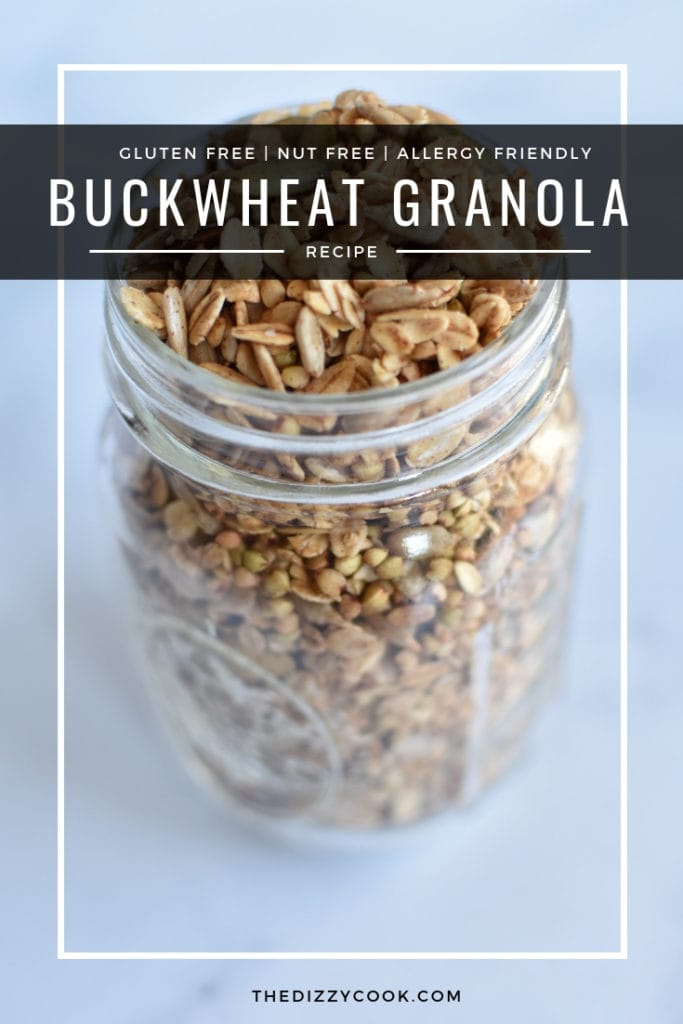 Nut free, gluten free and so easy, this extra crunchy buckwheat granola will be a hit for your morning breakfasts. Use on desserts, acai bowls, yogurt, or on it's own as a snack. #granola #nutfree #allergyfriendly