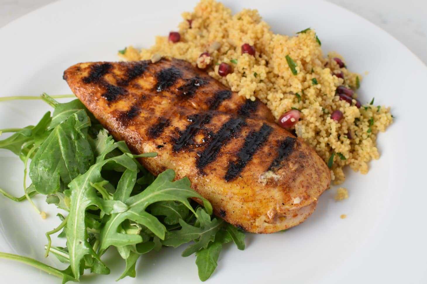 Moroccan Chicken with Pomegranate Cous Cous #hyh #migrainediet #grilledchicken