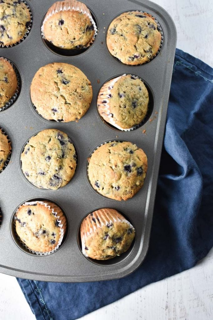 Blueberry muffins in a nonstick pan