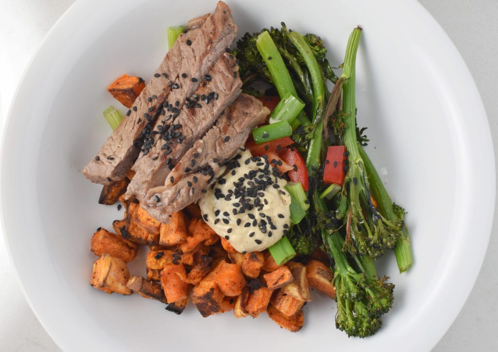 Paleo Tahini Bowl with Roasted Sweet Potatoes and Broccolini