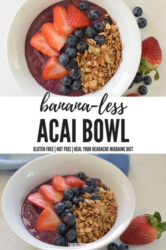 bananas can be a migraine trigger so I created a recipe for those who can't eat them! This acai bowl has no bananas and is still just as good. #acaibowl