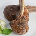 Roasted lamb chops with mint and herb goat cheese