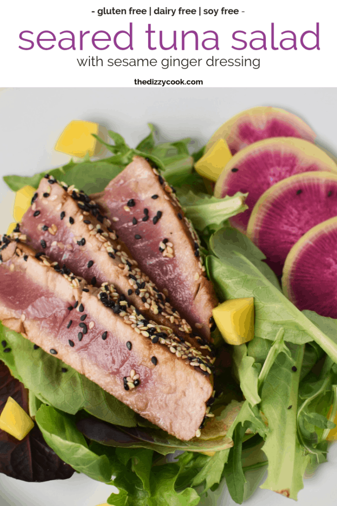 Seared Ahi Tuna Salad with Ginger Dressing - Soy Free and Gluten Free #easymeals #healthy #tunasalad #migrainediet #soyfree #glutenfree