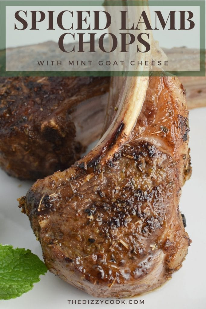 Roasted lamb chops with mint goat cheese