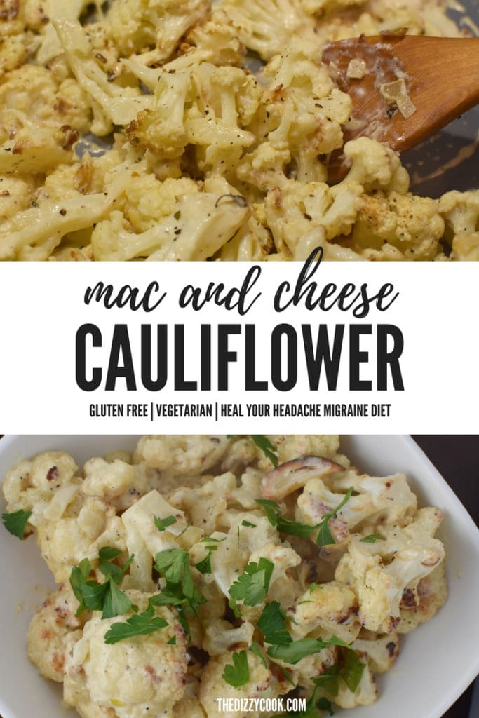 This LIGHT mac and cheese cauliflower is delicious, easy, and Heal Your Headache migraine diet approved. It is also vegetarian friendly and gluten free #cauliflower #macandcheese
