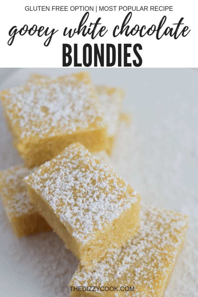 Extra Gooey White Chocolate Blondies - extra gooey with two options. One recipe for gluten free and one with all purpose flour. Delicious and migraine friendly! #whitechocolate #migrainediet #blondies