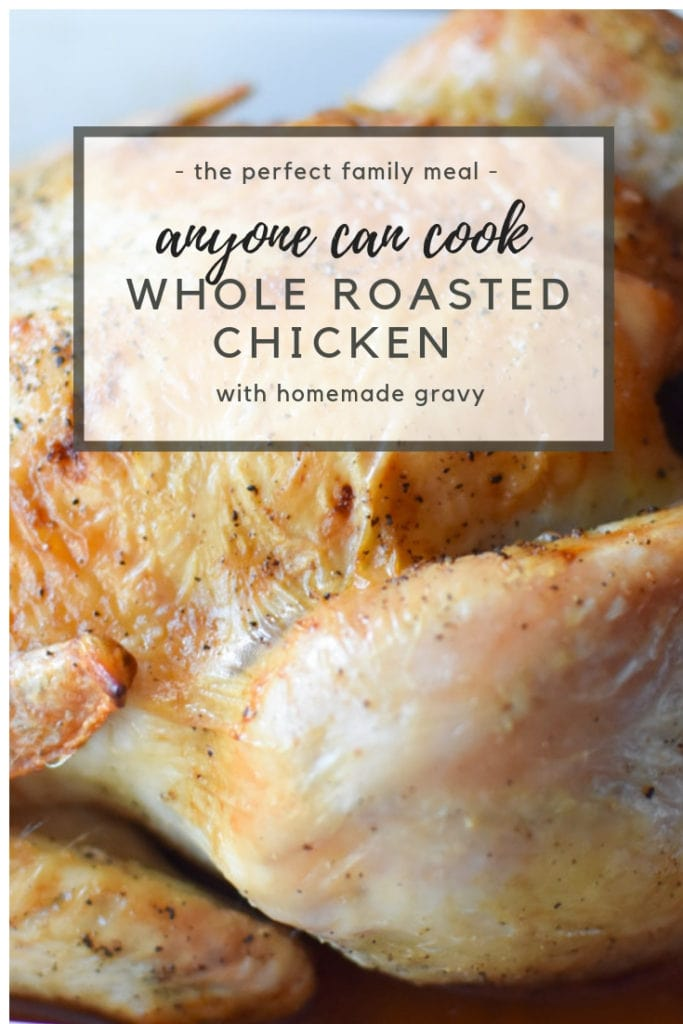 This whole roasted chicken is simple and easy to make for a family meal. Lemongrass and thyme compliment the chicken with a pan gravy sauce. #roastedchicken #fallrecipe #migrainesaferecipes