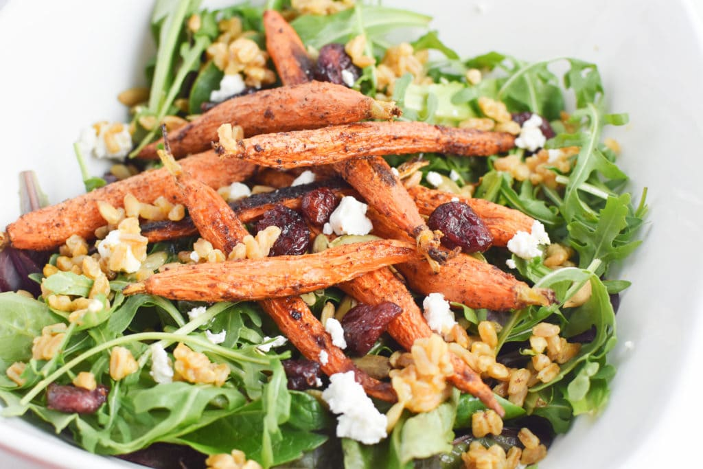 Healthy, Migraine Diet Farro and Arugula Salad with Moroccan Roasted Carrots