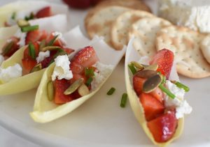 Strawberry Pepita Endive Boat Appetizer