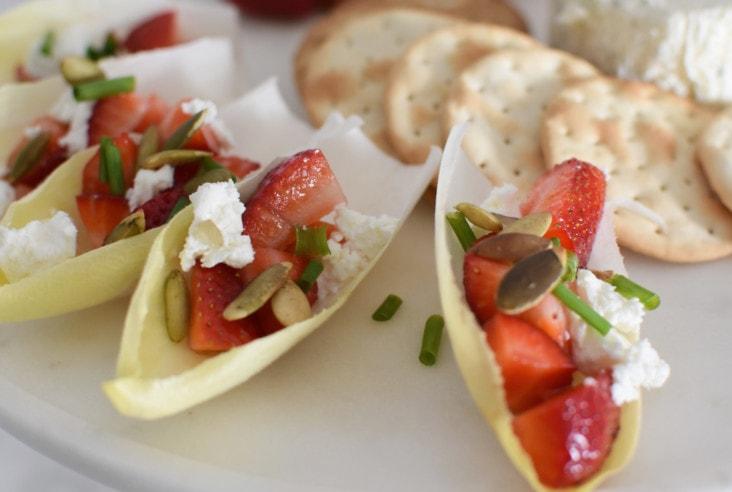 Strawberry Pepita Endive Boat Appetizer