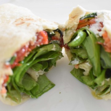 Homemade Roasted Red Peppers + A Vegetarian Veggie Wrap