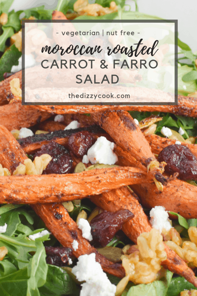 One of the best salads you'll ever have, this recipe has spiced roasted carrots, farro, goat cheese, and arugula for the perfect salad. #migrainediet #carrots #salad #healyourheadache