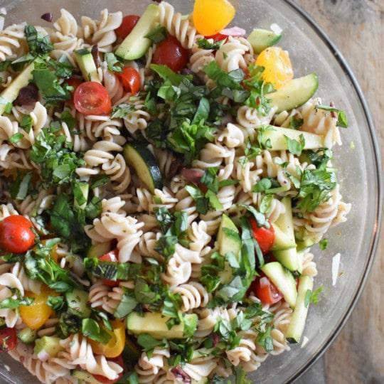 Gluten Free, Healthy Mediterranean Pasta Salad | Heal Your Headache Migraine Diet Friendly #pastasalad #glutenfree #healthy