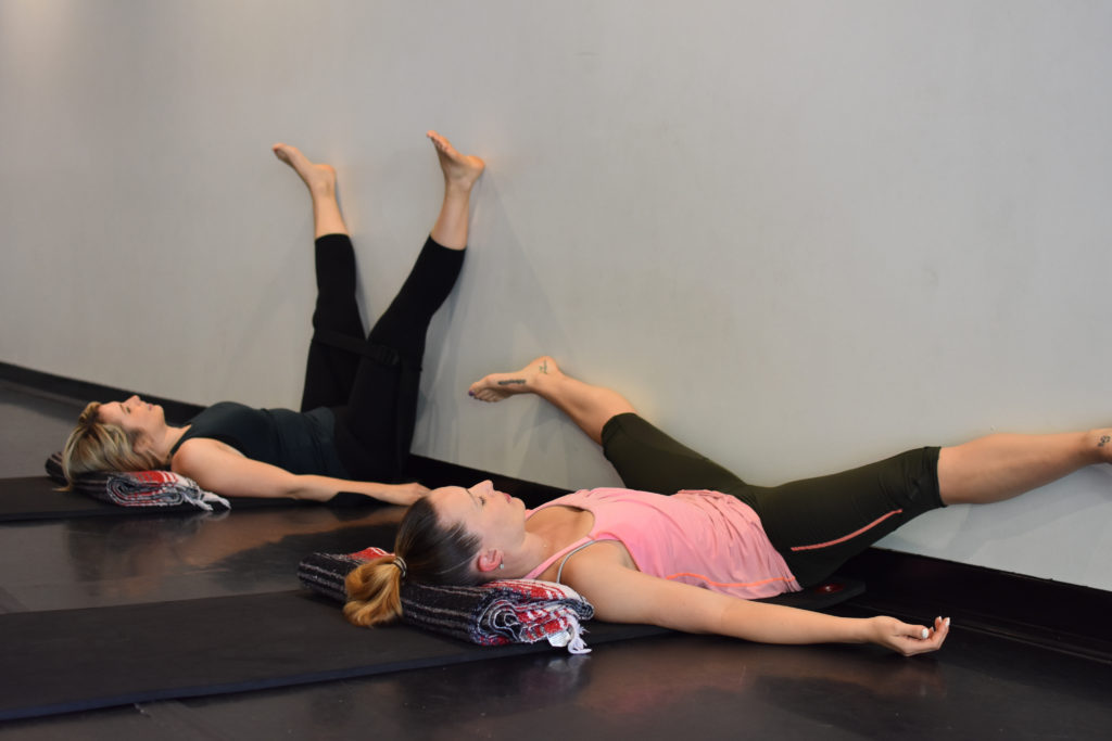 Legs up the wall pose with modifications | Restorative yoga for vestibular disorders