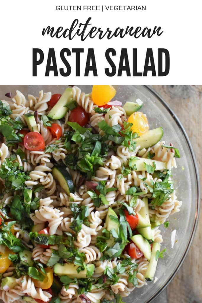 The best pasta salad without mayo! This gluten free quinoa pasta salad is perfect for a summer backyard BBQ or a meal prep lunch! It's also heal your headache HYH migraine diet friendly.