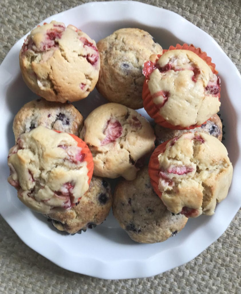 Gluten Free Blackberry and Strawberry Muffins