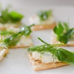 French toast appetizers with cream cheese and fresh herbs, dill, parsley, and chives
