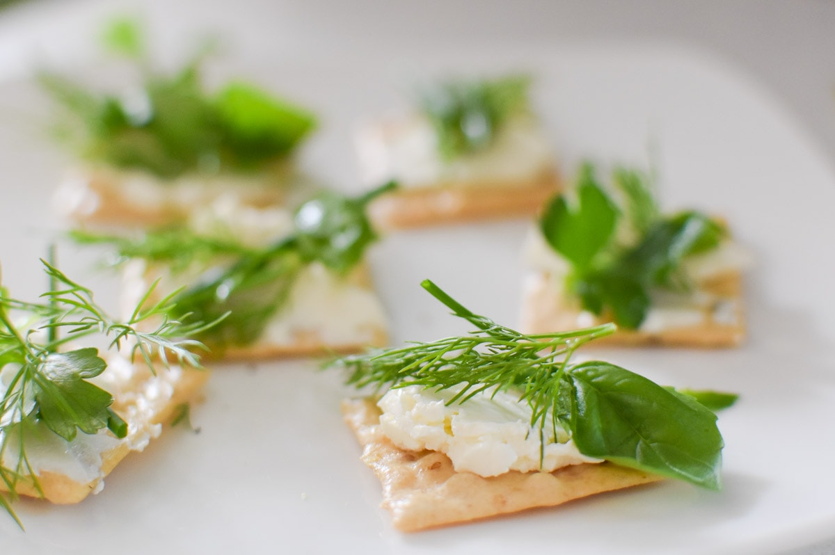 Cream cheese crackers fresh herbs, dill, parsley, and chives