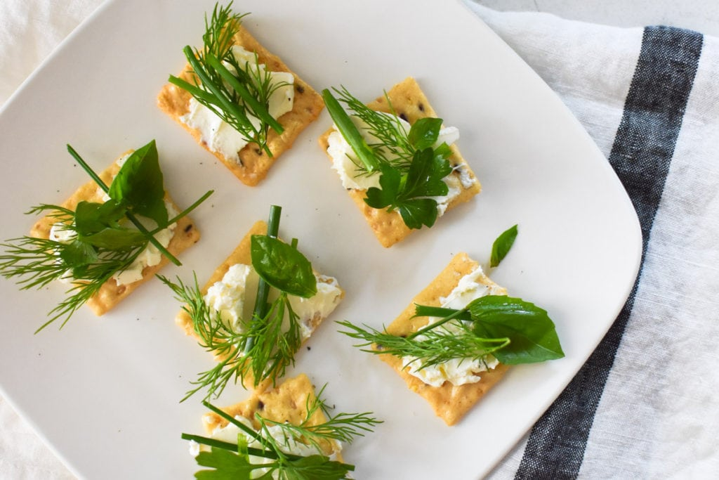 French toast appetizers with cream cheese and fresh herbs