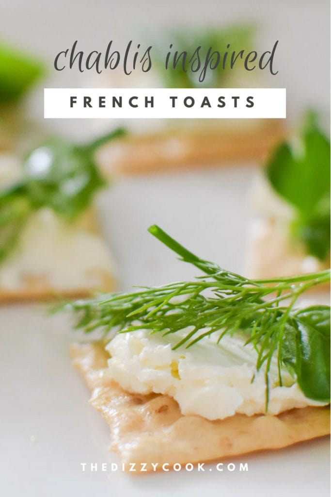 Easy appetizer Chablis inspired french toasts | gluten free with fresh herbs, migraine diet HYH friendly