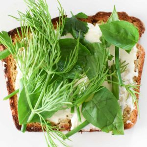 Cream cheese on toast with fresh basil, dill, and chives on top