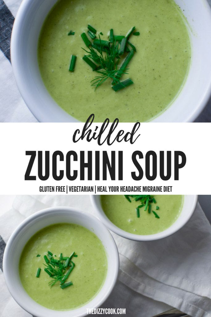 french inspired chilled zucchini soup with fresh herbs | heal your headache migraine diet safe #zucchini #soup