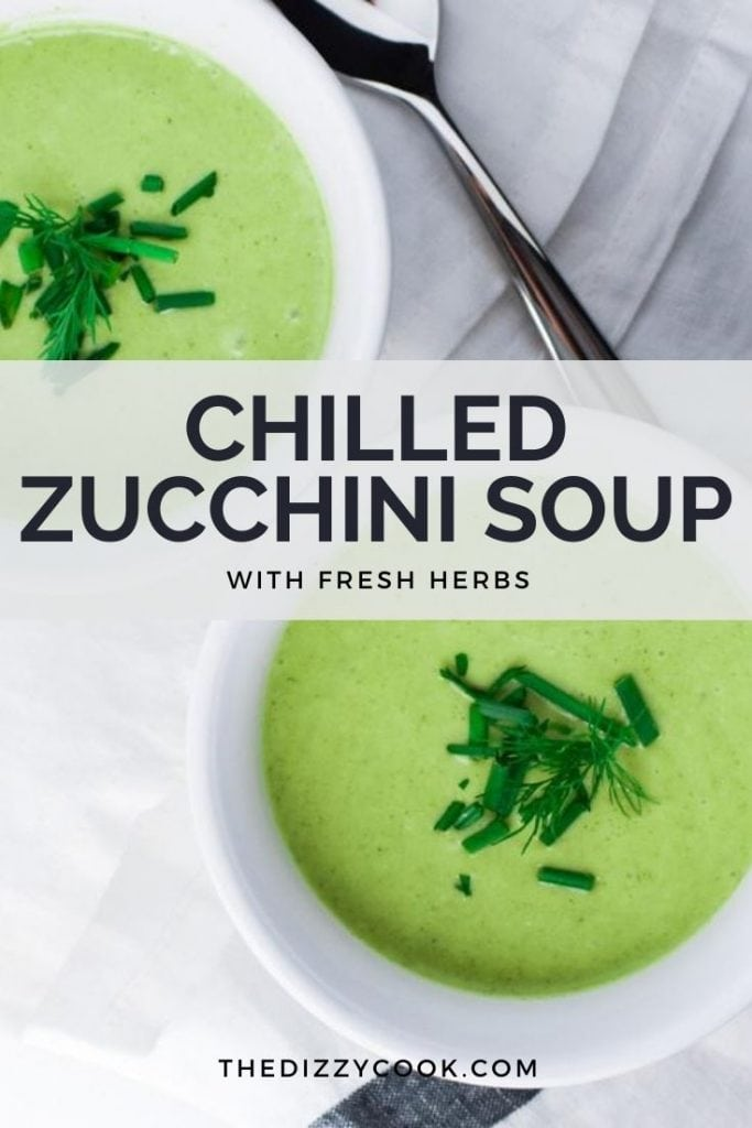 Two bowls of creamy zucchini soup