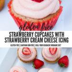 gluten free strawberry cupcakes with strawberry cream cheese frosting for vestibular disorder associations balance awareness week #strawberrycupcakes #glutenfree