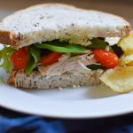 Sandwich with tomatoes, chicken, and spinach on a plate with chips