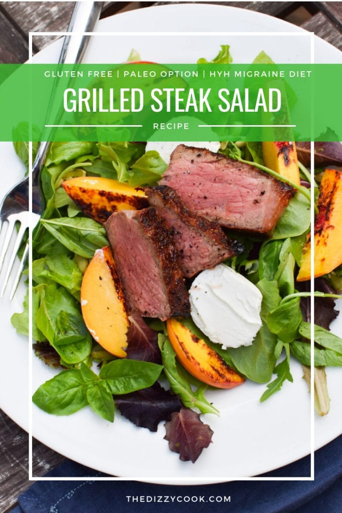 Easy Grilled Steak Salad with Fresh Peaches - The perfect end of summer salad that can be made #paleo or migraine free on the heal your headache diet #salad #steak #recipes