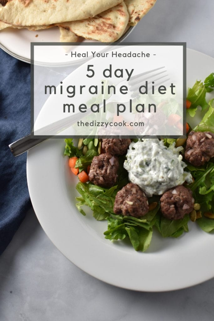 A 5 day meal plan for the Heal Your Headache diet for migraine management. These greek meatballs are made with a faux tzatziki sauce without yogurt. #migraine #healyourheadache #mealplan