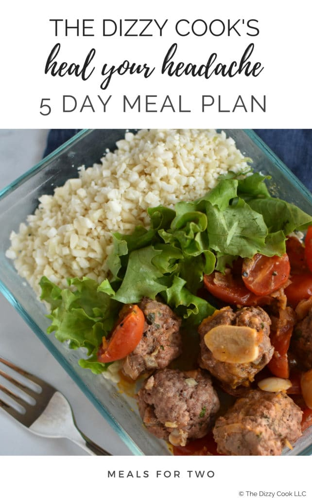 Meatballs with tomatoes and garlic, lettuce, and cauliflower rice next to a fork with a white background