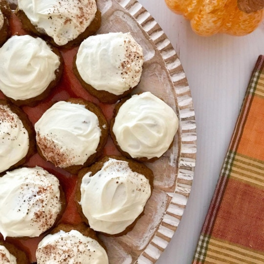 This recipe for pumpkin cookies with cream cheese frosting is not only migraine friendly, but also perfect for your fall or holiday party and Thanksgiving! #fall #pumpkinspice #cookies #thanksgivingrecipes #halloweenrecipes