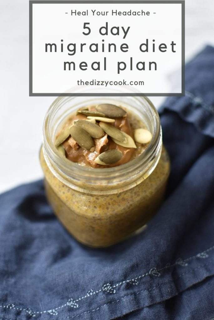 A 5 day meal plan for the Heal Your Headache diet for migraine management. This pumpkin spice chia pudding is nut free and perfect for weekday breakfasts that are easy. #migraine #healyourheadache #mealplan