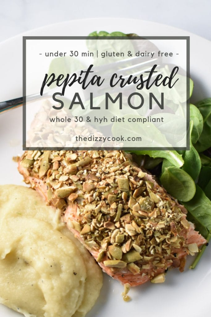 This recipe for pepita crusted salmon is nut free, dairy free, low carb, whole 30, and super easy to make. Roasted on one pan, it's perfect for a weeknight dinner that's Heal Your Headache HYH migraine diet safe. #salmon #dinner #whole30 #paleo #migrainediet