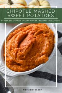 mashed sweet potatoes in a white baking dish