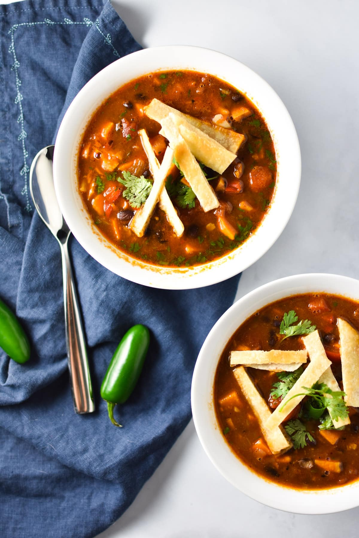 Vegan Tortilla Soup that is also gluten free and perfect for cold winter nights and family dinners or lunch. Easy to make with tons of flavor and migraine safe! #vegan #tortillasoup #soup #migrainediet