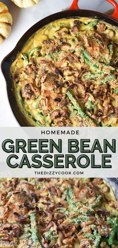 Green bean casserole in a red cast iron pan with homemade fried shallots on top