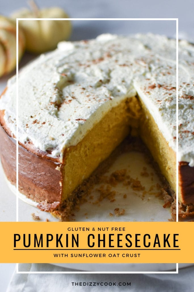 Pumpkin cheesecake with sunflower seed and oat crust is perfect for any holiday dessert! No water bath required, your family and friends will love this easy Thanksgiving recipe. #pumpkincheesecake #thanksgiving #christmas #nutfree #glutenfree