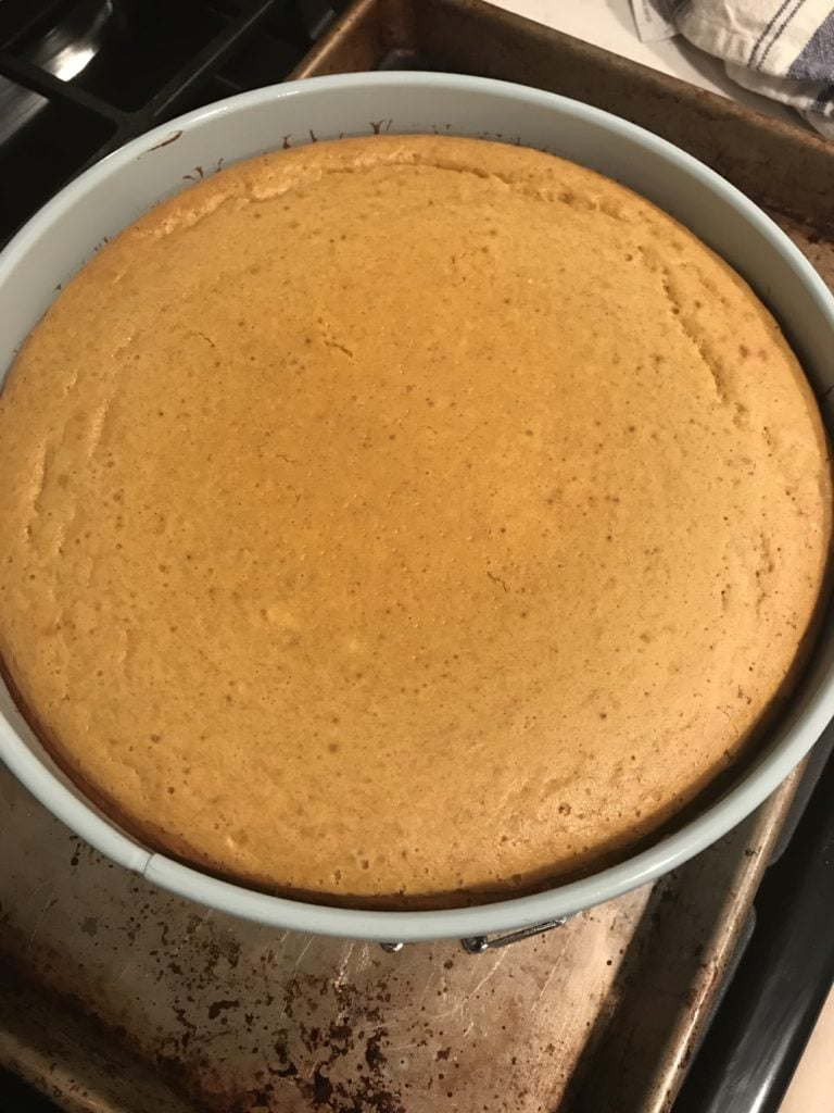 pumpkin cheesecake in a springform pan coming out of the oven
