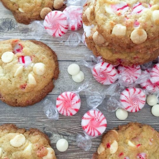 White chocolate peppermint cookies that are chewy with a slight crunch. These cookies are perfect for your holiday meals and Christmas parties! #cookies #christmas #peppermint #whitechocolate #christmascookies