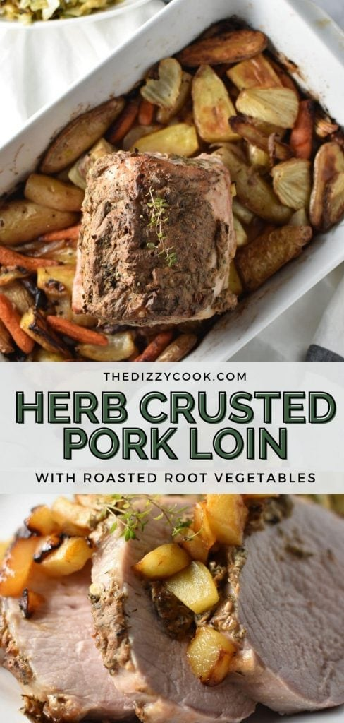 An herb crusted pork loin with roasted root vegetables and apples