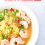Whether you have a cold or you're going Whole 30, this lemongrass ginger and spaghetti squash soup will make the perfect meal. Packed full of migraine aborting ginger and anti-inflammatory lemongrass. #migrainediet #lemongrass #soup #healthy