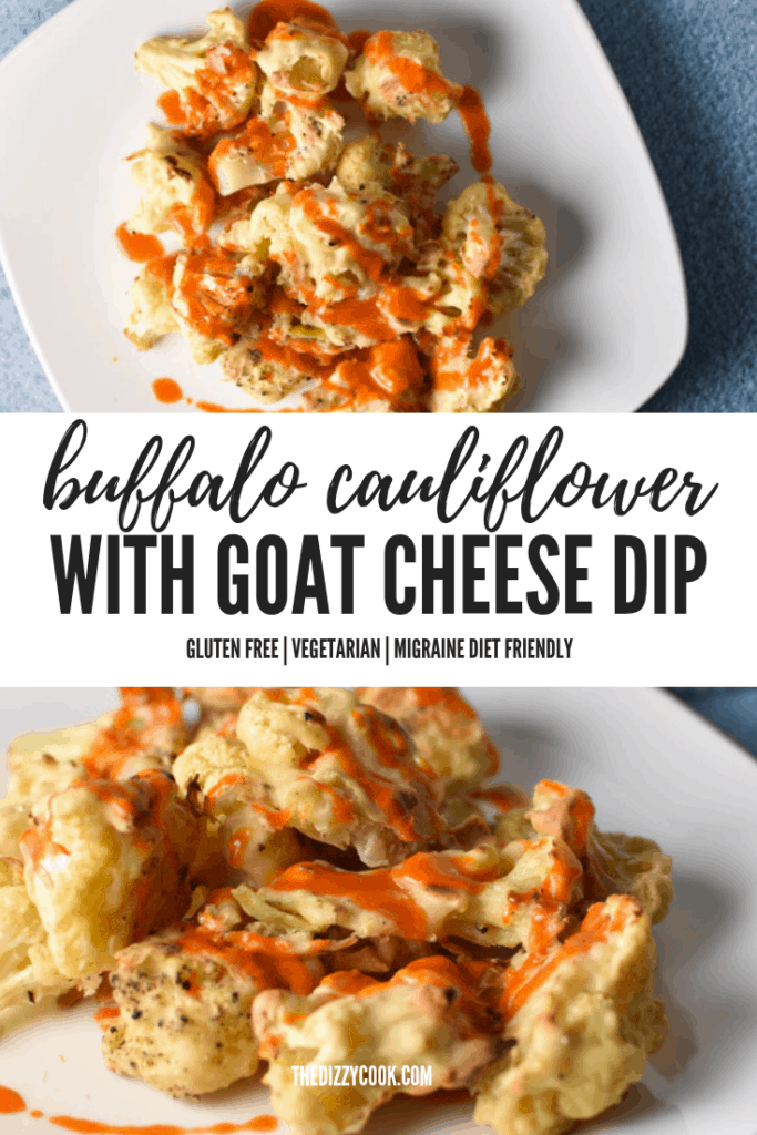 Buffalo cauliflower with faux blue cheese dip is a migraine friendly vegetarian alternative to the traditional game day food. Fresh goat cheese provides a tangy, creamy flavor! #buffalocauliflower #vegetarian #migrainediet