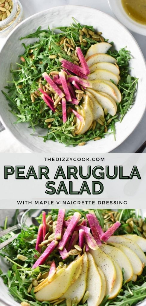 Two pictures of pear arugula salad in a white bowl with sliced pears and toasted pumpkin seeds