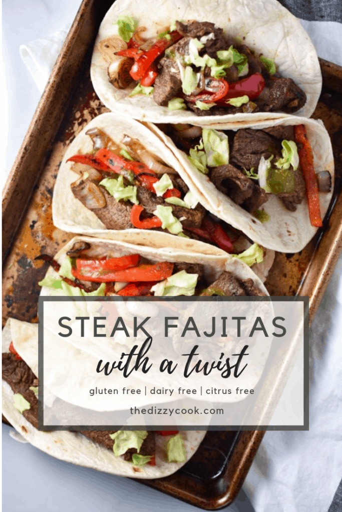 Quick and easy msg-free steak fajita recipe, perfect for a Friday night dinner. These flank steak fajitas are marinated in fresh (migraine safe) spices and cherry juice, which gives it the tart flavor without citrus. #fajitas #steak #cleaneating #recipe