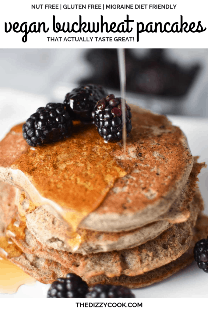 The best vegan pancakes you will ever taste! Egg-free, nut free, dairy free, and banana free, these pancakes are light, fluffy and make a delicious and easy migraine safe breakfast. #pancakes #nutfree #vegan #migrainediet