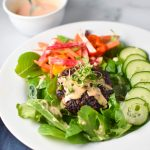 Banh Mi Burger Salad - a healthy, paleo and gluten free weeknight meal that is full of flavor. #paleo #migrainediet #burgers #weeknightmeal
