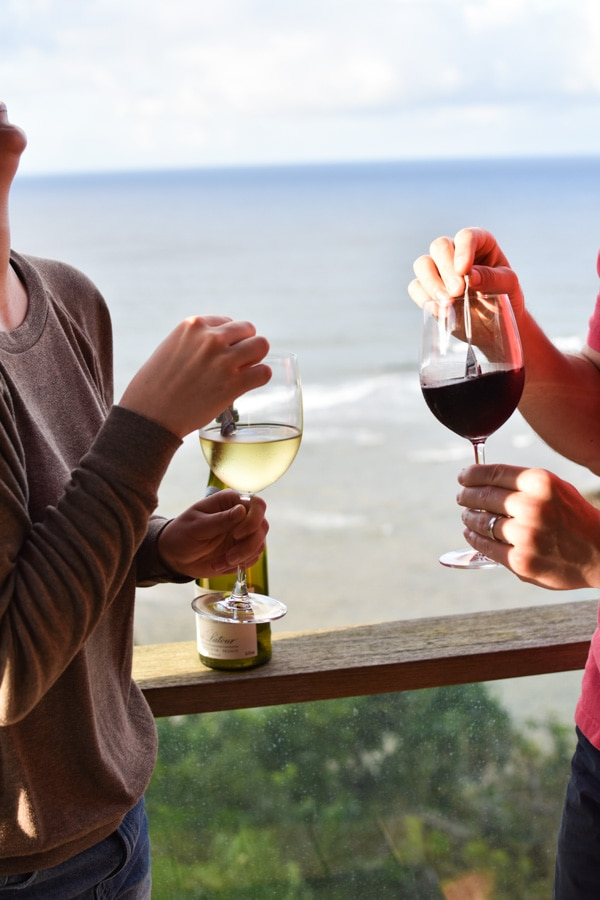 Two people enjoying red and white wine with TheWand