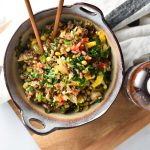 Got leftover vegetables? This veggie fried rice is perfect for using leftovers. Made soy free with clean ingredients, it's the best healthy and tasty version of fried rice. #vegetablefriedrice #easymeal #vegetarian #vegan